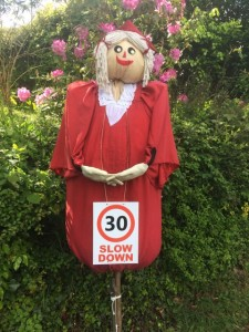 Scarecrows helping slowing down the traffic through the village